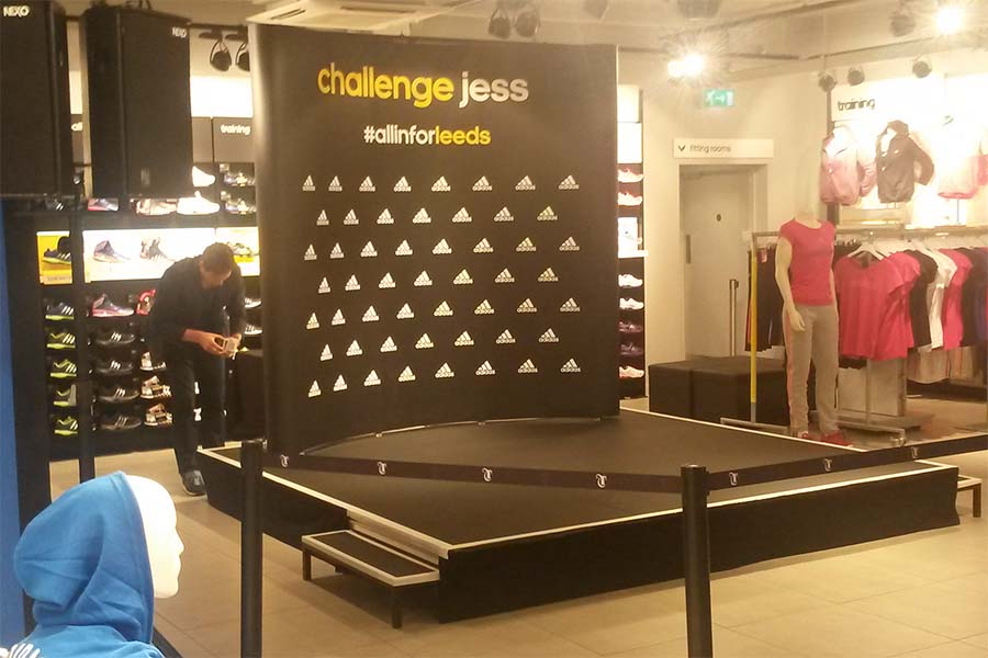 A Prolyte stage for a meet and greet event with Jessica Ennis.